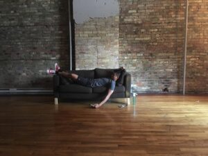Photo from Bone Conditioning by Robert Keo. relationships with women. This piece explored themes of sex, frustration, and sleeping on the couch.